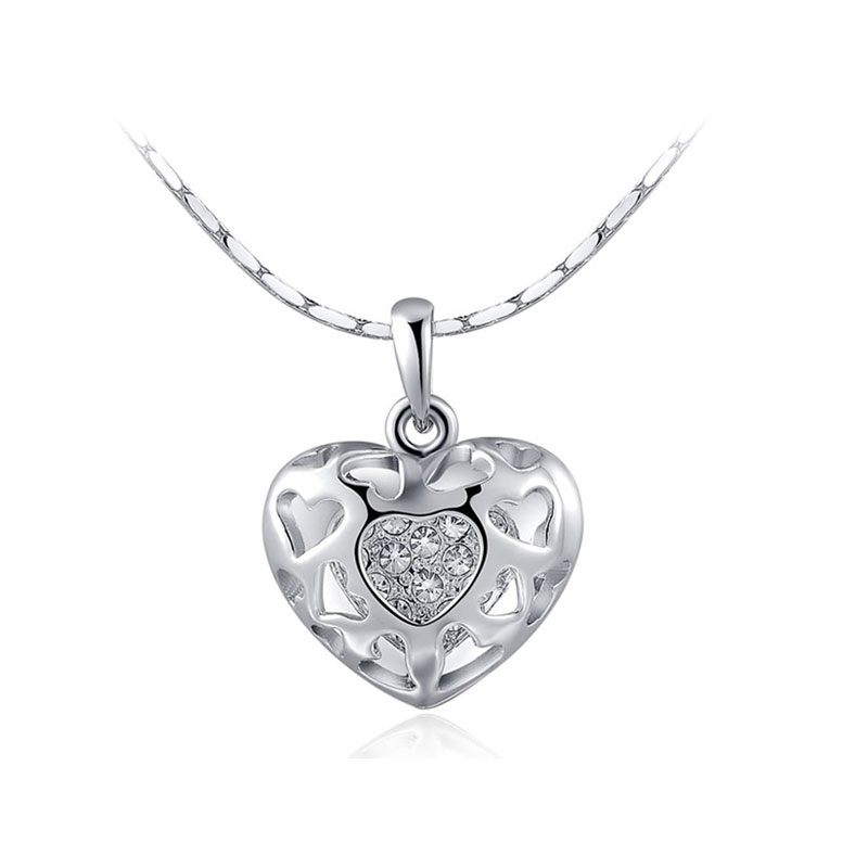 Heart and Heart Cut Out Pendant - White