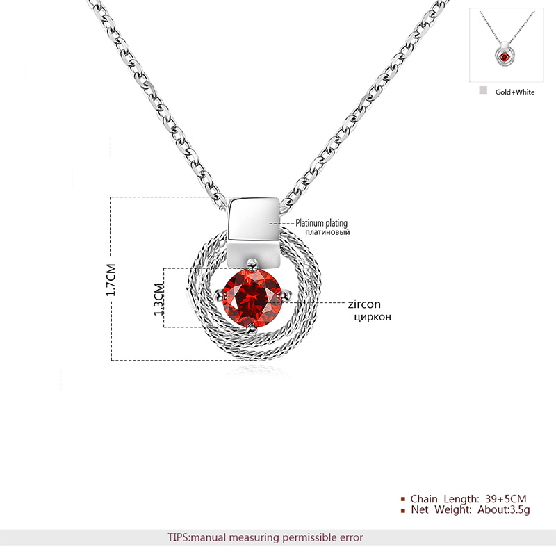 Circular Coil Solitaire Ruby Pendant White Gold Necklace