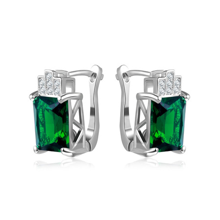 Emerald Rectangle Clip Earrings