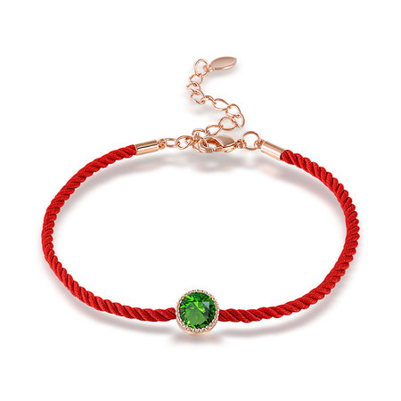 Emerald Rose Gold Red Cord Bracelet