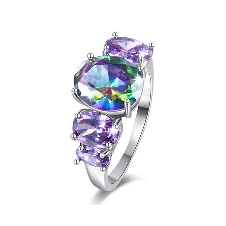 Multi-Colour Symmetry Oval Diamond Ring