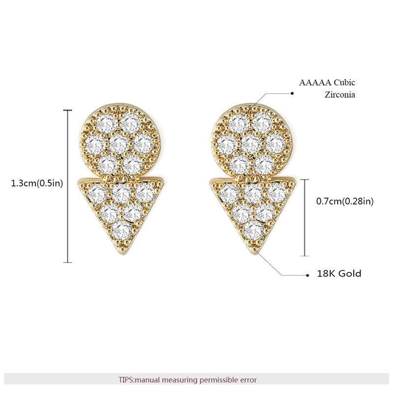 Roundness & Triangle 18K Stud Earrings