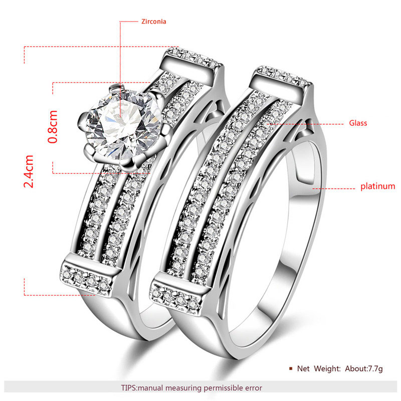 Dual Channel White Gold Diamond Couple Rings