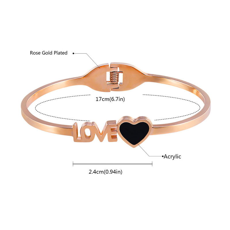 Love & Heart Openings Rose Gold Bangle