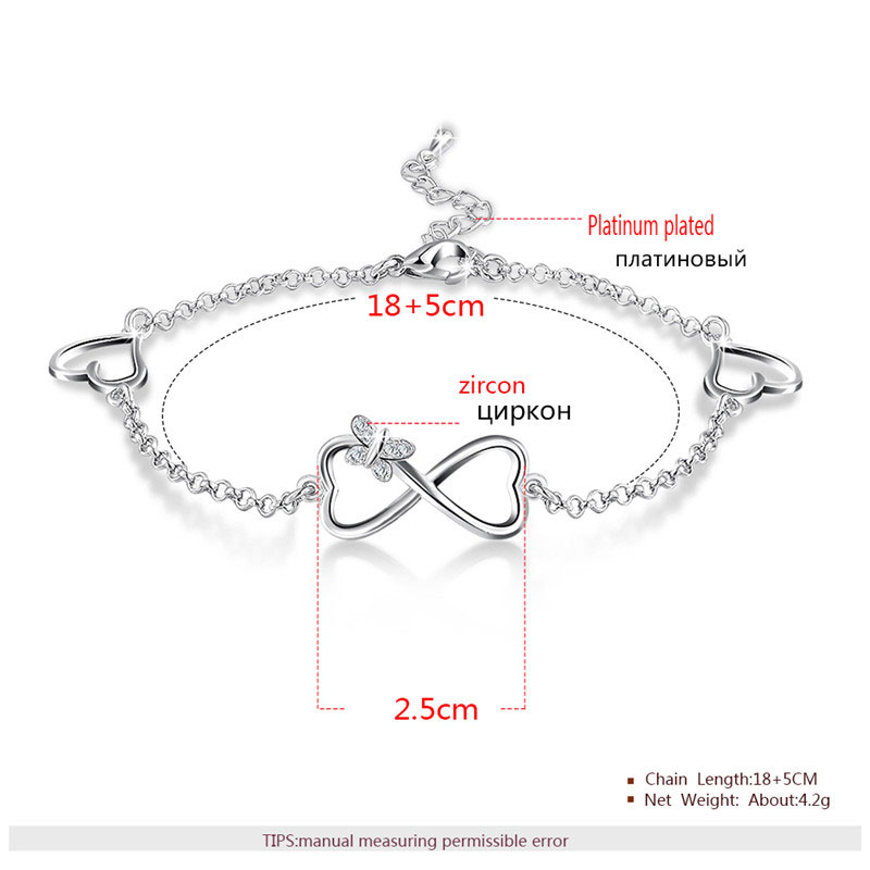 Heart to Heart With Butterfly Chain White Gold Bracelet