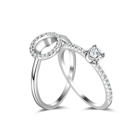 2 in 1 Halo Wedding Ring Set 1/4ct