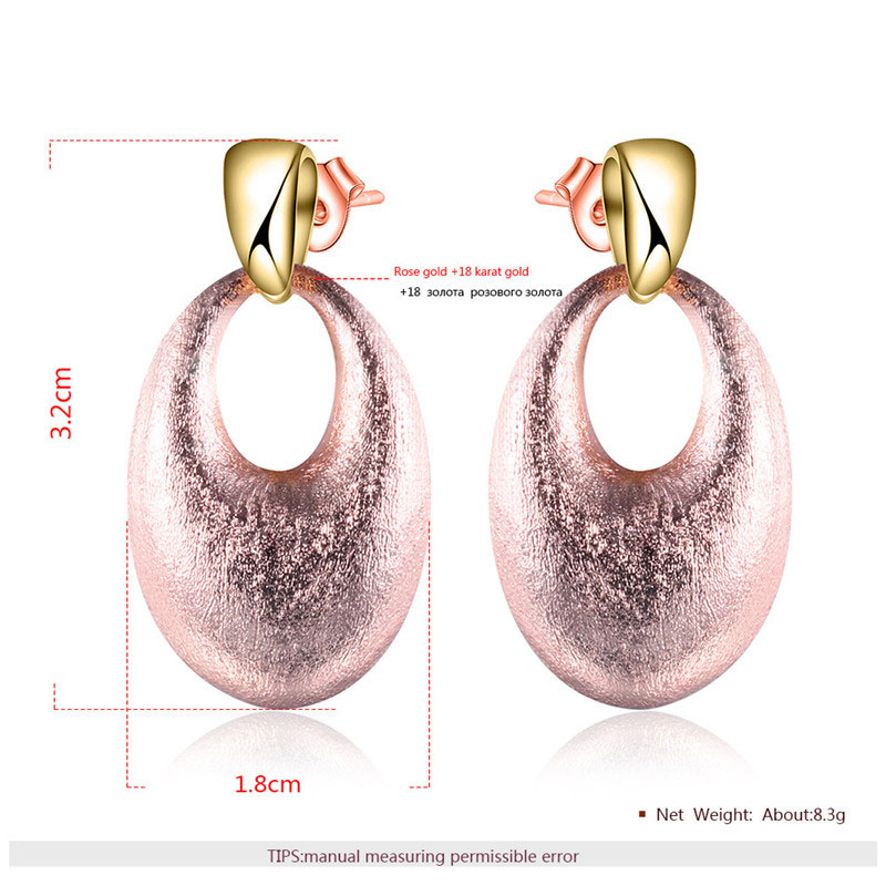Two-Tone Oval Drop Earrings