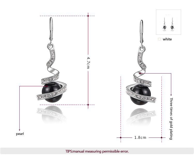Black Pearl White Gold Drop Earrings