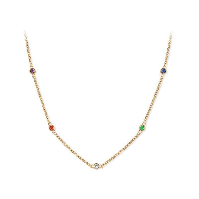 Five Colours Five Diamond Sterling Silver Necklace