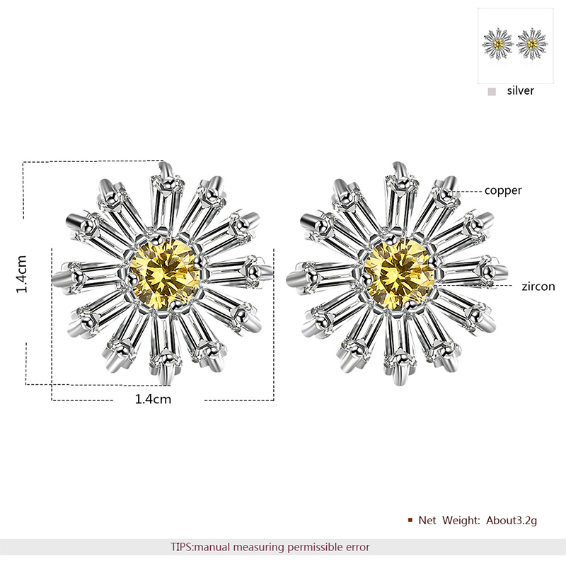 Small Daisy Flower Diamond Set - Earring