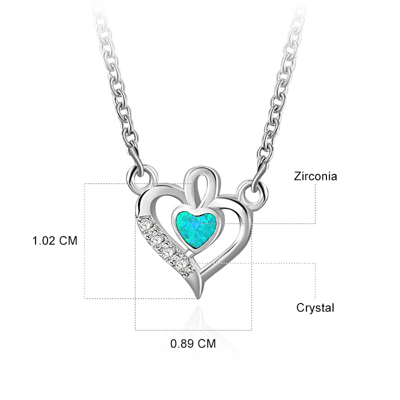 Heart and Heart Pendant 925 Sterling Silver Necklace