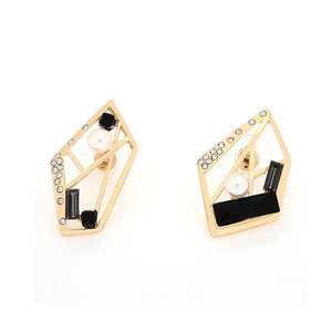 Geometrical Pearl Yellow Stud Earrings