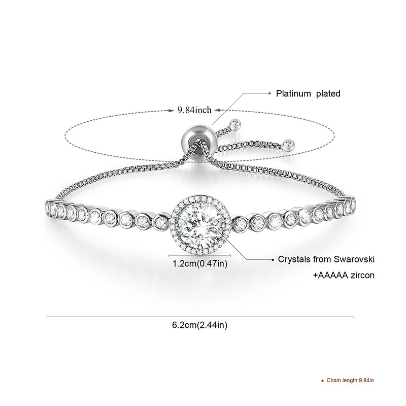 Classic Elegant Adjustable Tennis White Gold Diamond Bracelet