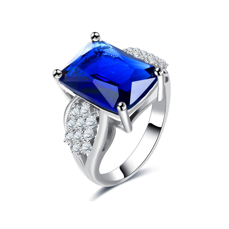 Rectangle Sapphire and Diamond Ring