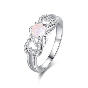 Laciness Bow Tie Opal White Gold Ring