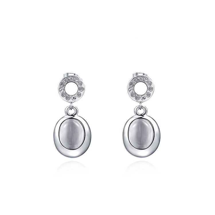 Classic Oval Opal White Gold Earings