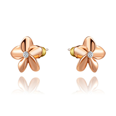 Five-leaf Flower Stud Earrings - Rose