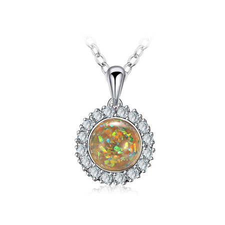 Yellow Fossil Opal White Gold Necklace