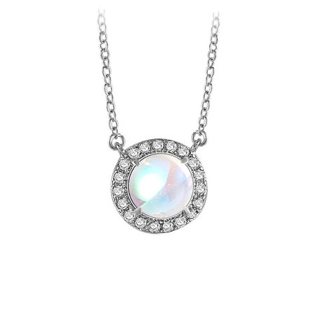 Moonstone Round Pendant With Halo