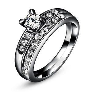 Gun Black Diamond Wedding Ring Set