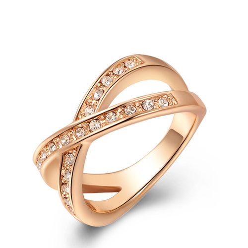 Intersect 2 Row Diamond Ring - Rose