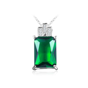 Emerald Rectangle White Gold Necklace