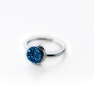 Sweet Round Sapphire Sterling Silver Ring