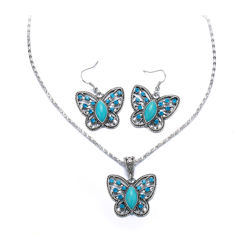 Blue Butterfly White Gold Set