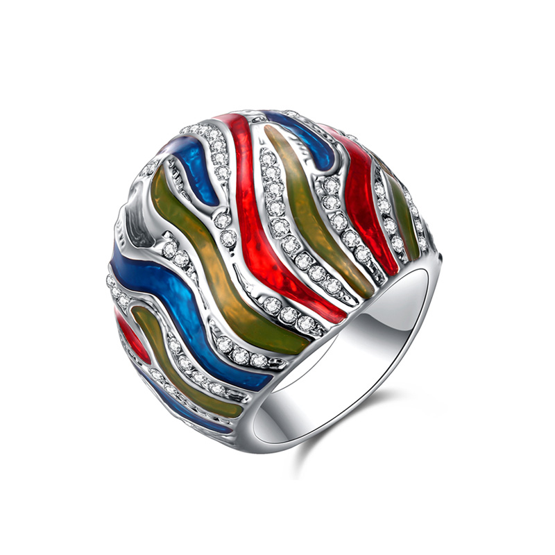 Colorful Magma Enamel White Gold Ring