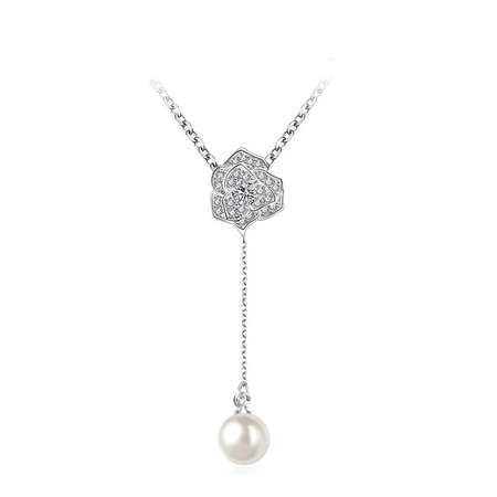Classic Chain Hammered Pearl Drop Necklace
