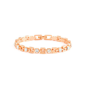 Rose Gold Link Bracelet With White Stones