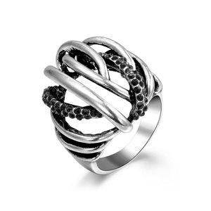 Black Diamond Silver Oxide Ring
