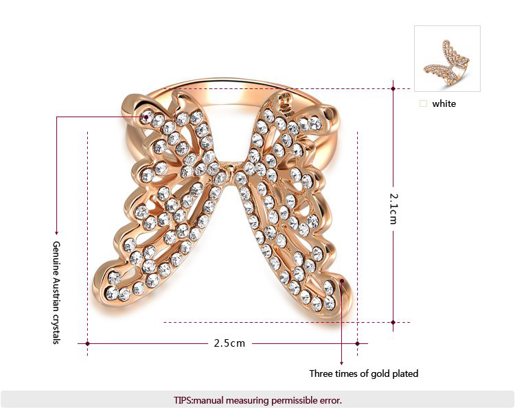 Fly Butterfly Rose Gold Ring