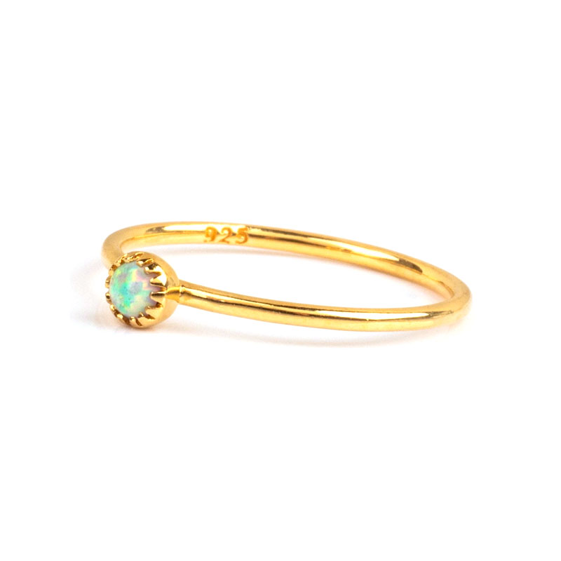 Flower Bud Opal 18K Gold Ring