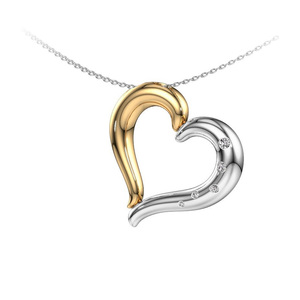 Fashion Two-Tone Heart Necklace